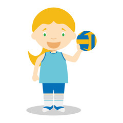 Sports cartoon vector illustrations: Voleyball (female)