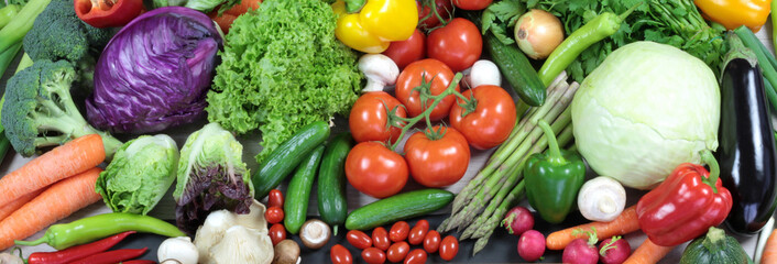 Colorful fresh vegetables banner