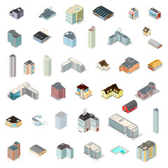 Large Icon set of isometric buildings. Various vector isometric architecture.