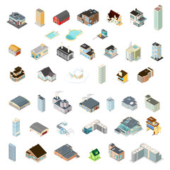 Large Icon set of isometric buildings.