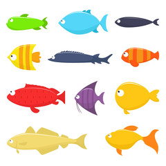 Set of fish vector illustration, isolated on white background.