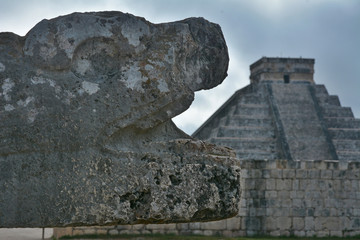 Mayan pyramid of Kukulkan with Sacred Snake in the foreground.