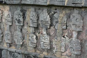 Chichen Itza Tzompantli the Wall of Skulls (Temple of Skulls), M