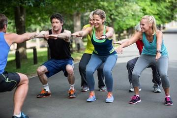 Acrylic Prints Dance School Fitness class doing squat sequence