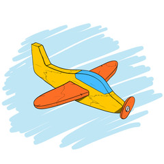Handmade vintage wooden toy plane, isometric hand drawn vector eps10 illustration