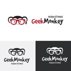 Monkey Logo.Animal logo template.Chimp logo.