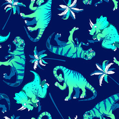 Dinosaurs with palm trees in a seamless pattern