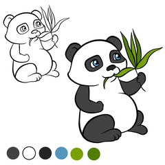 Coloring page. Color me: panda.  Little cute panda sits and eats leaves. It`s happy. .