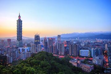 night of Taipei, Taiwan city skyline at twilight
