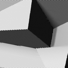Abstract woodcut styled background with intersecting cubes
