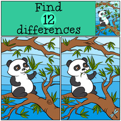 Children games: Find differences. Little cute panda sits on the tree and eats leaves.