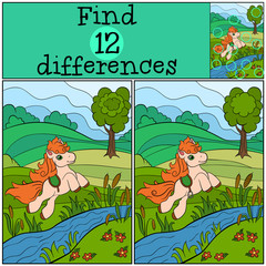 Children games: Find differences. Little cute pony jumps under the river.