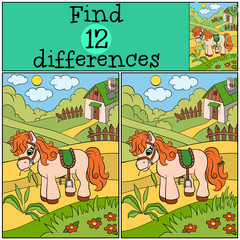 Children games: Find differences. Little cute pony stands on the field and eat grass.