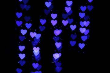 Blurry blue lights in heart shape
