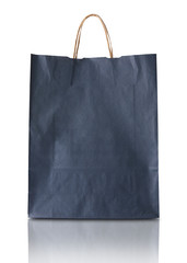 Blank blue paper bag isolated
