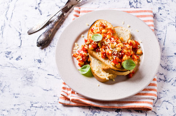 Bruschetta with chickpeas