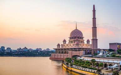 Aluminium Prints Kuala Lumpur Sunset view of Putra Mosque located in Putrajaya, Kuala Lumpur, Malaysia.