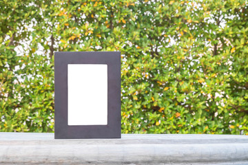 Closeup frame for photo isolated on cement desk in the park