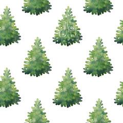 Watercolor christmas tree. Seamless pattern