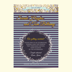 Wedding invitation card with striped background and hand drawn branch of flax