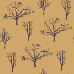 vector seamless pattern. forest tree background.