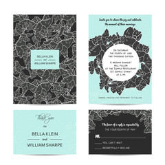 abstract wedding floral set with invitation and rsvp cards