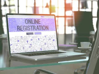 Online Registration Concept. Closeup Landing Page on Laptop Screen in Doodle Design Style. On Background of Comfortable Working Place in Modern Office. Blurred, Toned Image. 3D Render.