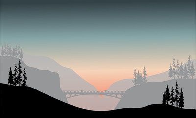 Silhouette of bridge at the morning
