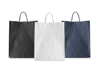 three blank  paper bag isolated (White,Black,Blue)
