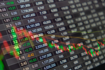 Stock market chart, Stock market data on LED display concept