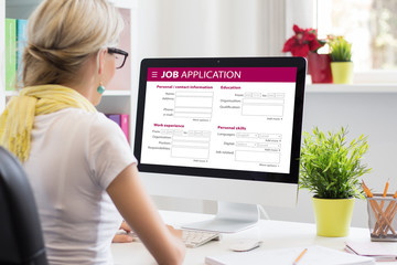 Job application form on computer