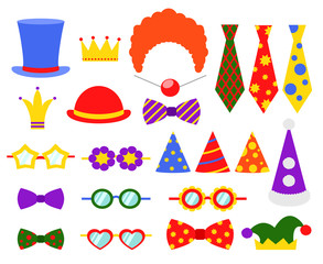 Circus photo booth vector set