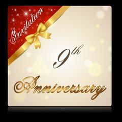 9 year anniversary celebration golden ribbon, 9th anniversary decorative golden invitation card - vector eps10