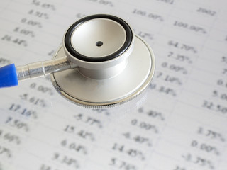 Stethoscope on financial data - indicates to check and diagnose