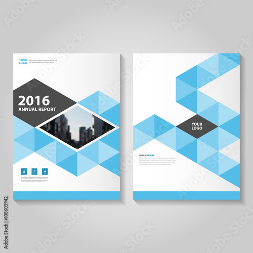 Triangle Blue Vector Business Proposal Leaflet Brochure Flyer