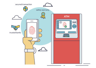 Mobile access to ATM via smartphone using fingerprint identification. Flat line contour illustration of payment via smartphone app