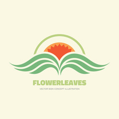 Flower leaves vector logo concept illustration in flat style design for corporate identity. Nature floral logo sign. Leafs logo sign. Organic product logo. Vector logo template. Design element.