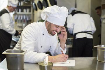 Keuken foto achterwand Bakkerij Chef in good relations with supplier