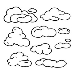 Hand Drawn Cloud Set. Silhouette Vector Illustration . Isolated On White Background.