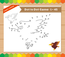 Cartoon Eagle. Dot to dot educational game for kids
