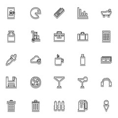 Glyph line icon set