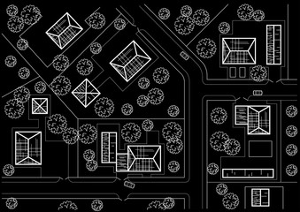 Linear architectural sketch general plan of village on black background