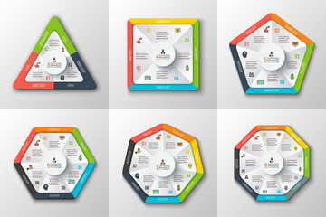 Set of geometric shapes for infographic.