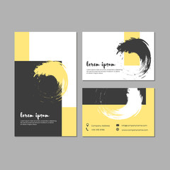 Set of grunge business cards with geometric shapes and hand drawn textures.  Template for brochures, posters, flyers, placards, and banners. Yellow, black, and white colors. Vector illustration.
