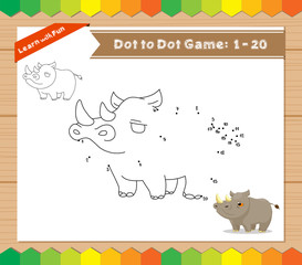 Cartoon Rhino. Dot to dot educational game for kids