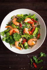 soba noodles with shrimps and vegetables. Asian food