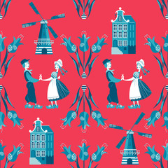 Seamless pattern with Dutch traditional elements.