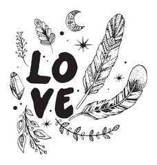 Love card with tribal graphic elements: stone, feathers, leaves, moon, stars. Hipster style.