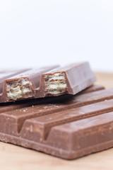 Closeup macro shot chocolate wafers