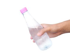 Hand holding plastic water bottle